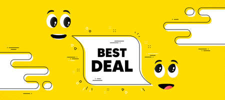 Best deal text. Cartoon face chat bubble background. Special offer Sale sign. Advertising Discounts symbol. Best deal chat message. Character smile face. Vector