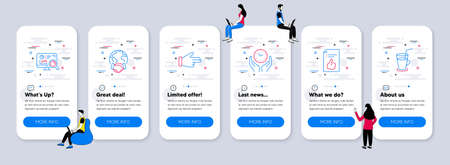 Business icons set. UI phone app screens with teamwork. Included icon as Safe time, Seo analytics, Global business signs. Approved document, Click hand, Cocktail line icons. Vector 向量圖像