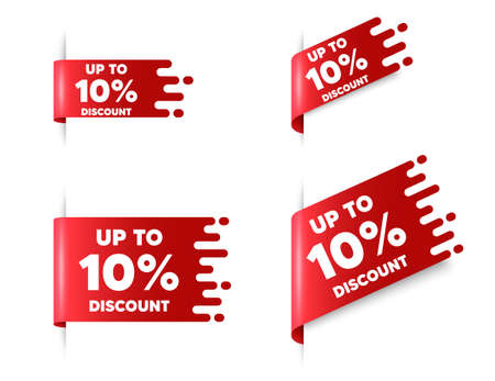 Up to 10 percent Discount. Red ribbon tag banners set. Sale offer price sign. Special offer symbol. Save 10 percentages. Discount tag sticker ribbon badge banner. Red sale label. Vector