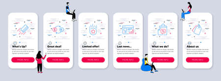 Vector Set of Finance icons related to Loyalty star, Web report and Credit card icons. UI phone app screens with teamwork. Sale bags, Currency exchange and Sale tags line symbols. Vector