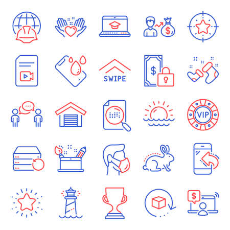 Line icons set. Included icon as Star target, Award cup, Private payment signs. Sunset, Twinkle star, Creativity concept symbols. Incoming call, Video file, Online shopping. Search file. Vector 向量圖像