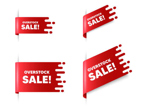 Overstock sale text. Red ribbon tag banners set. Special offer price sign. Advertising discounts symbol. Overstock sale sticker ribbon badge banner. Red sale label. Vector