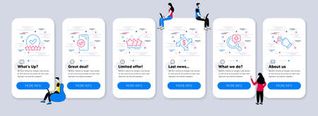 Business icons set. UI phone app screens with teamwork. Included icon as Approved phone, Rating stars, Payment exchange signs. Stars, Medical analyzes, Drag drop line icons. Vector