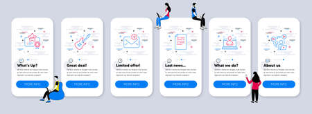 Education icons set. UI phone app screens with teamwork. Included icon as Best manager, Electric guitar, Document signs. New mail, Vip certificate, Video conference line icons. Vector 向量圖像