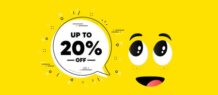 Up to 20 percent off Sale. Cartoon face chat bubble background. Discount offer price sign. Special offer symbol. Save 20 percentages. Discount tag chat message. Character smile face background. Vector 向量圖像