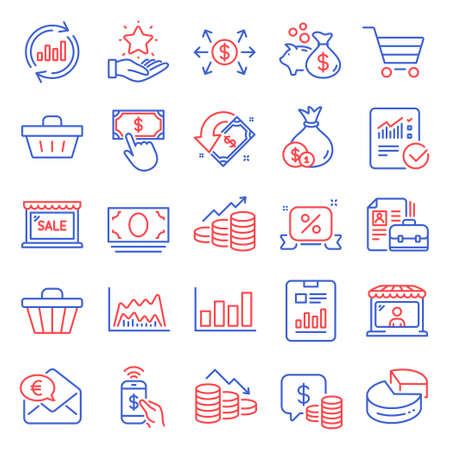Finance icons set. Included icon as Discounts ribbon, Sale, Phone payment signs. Coins, Cash money, Report diagram symbols. Update data, Money loss, Checked calculation. Loyalty program. Vector