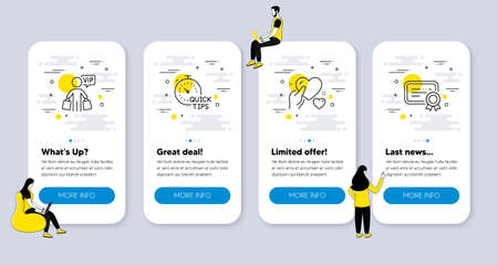 Vector Set of Business icons related to Quick tips, Hold heart and Vip shopping icons. UI phone app screens with people. Certificate line symbols. Vector