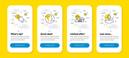 Vector set of Rotation gesture, Cleaning service and Face id line icons set. UI phone app screens with line icons. Augmented reality icon. Undo, Bucket with mop, Identification system. Vector 向量圖像