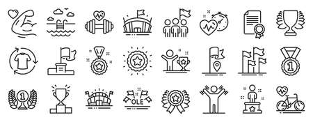 Set of Sports icons, such as Sports arena, Ole chant, Dumbbells workout icons. Winner star, Winner cup, Leadership signs. Cardio training, Cardio bike, Laureate award. Certificate, Flag. Vector