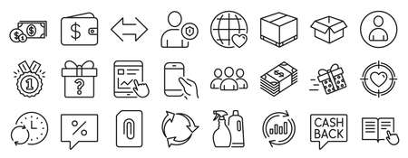 Set of line icons, such as Valentine target, Sync, Attachment icons. Shampoo and spray, Hold smartphone, Discount message signs. Group, Delivery box, Present delivery. Security, Approved. Vector 向量圖像