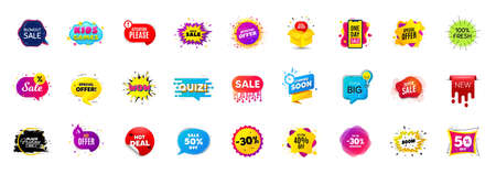 Best sale offer banners. Discounts price deal stickers. Special offer 3d bubble. Promotion sale tag coupons. Quiz bubble banner. Best discount deal sticker templates. Promotion Ad labels. Vector