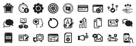 Set of Technology icons, such as Correct way, Loop, Smartphone icons. Ssd, Fan engine, Algorithm signs. Recovery gear, Consolidation, Seo gear. Coal trolley, Messenger, Work home. Like. Vector