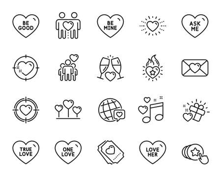 Vector set of Be mine, Love heart and Wedding glasses line icons set. Love gift, Heart flame and Be good icons. Valentine, Valentine target and Friends couple signs. Be mine web symbol. Vector