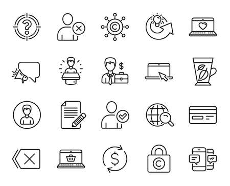 Vector set of Megaphone, Remove and Web love line icons set. Mint leaves, Article and Dollar exchange icons. Copywriting network, Copyright locker and Credit card signs. Megaphone web symbol. Vector 向量圖像