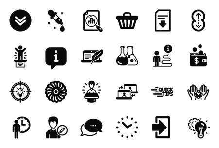 Vector Set of Technology icons related to Analytics graph, Outsource work and Dots message icons. Shop cart, Safe time and Copyright laptop signs. Waiting, Idea and Fan engine. Scroll down. Vector