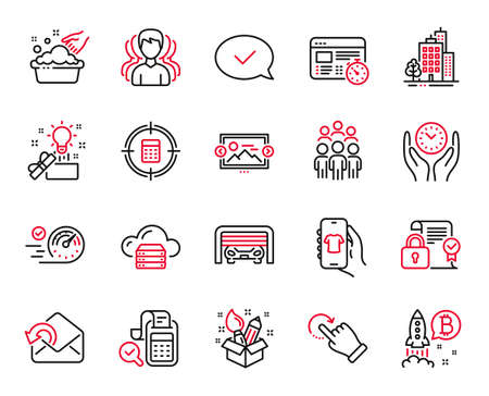 Vector Set of Business icons related to Image carousel, Buildings and Group icons. Parking garage, Cloud server and Group people signs. Creative idea, Hand washing and Security contract. Vector
