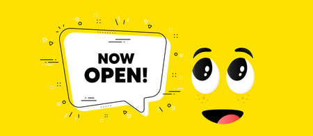 Now open text. Cartoon face chat bubble background. Promotion new business sign. Welcome advertising symbol. Now open chat message. Character smile face background. Vector 向量圖像