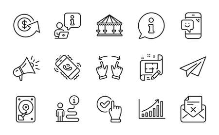Technology icons set. Included icon as Paper plane, Smile, Hdd signs. Call center, Reject letter, Graph chart symbols. Architect plan, Move gesture, Carousels. Checkbox, Megaphone. Vector