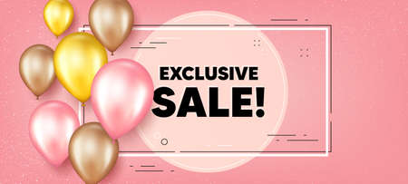 Exclusive Sale text. Balloons frame promotion banner. Special offer price sign. Advertising Discounts symbol. Exclusive sale text frame background. Party balloons banner. Vector
