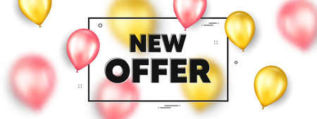 New offer text. Balloons frame promotion ad banner. Special price sign. Advertising Discounts symbol. New offer text frame message. Party balloons banner. Vector 向量圖像