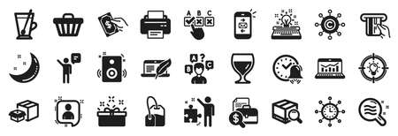 Set of simple icons, such as Strategy, Pay money, Idea icons. Speakers, Mail, Wine glass signs. Present box, Moon stars, Printer. Web analytics, Tea bag, Tea mug. Copyright laptop, Agent. Vector