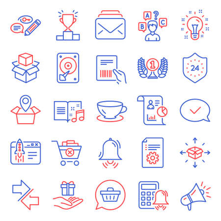 Line icons set. Included icon as Report, Remove purchase, 24 hours signs. Parcel invoice, Technical documentation, Mail symbols. Start business, Shopping cart, Synchronize. Megaphone, Idea. Vector 向量圖像