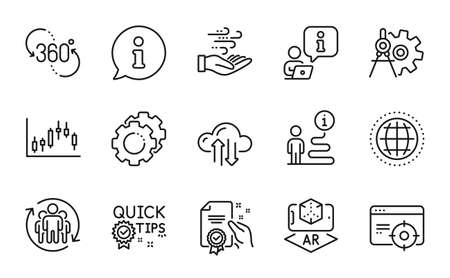 Science icons set. Included icon as Certificate, Wind energy, Candlestick graph signs. 360 degree, Cogwheel dividers, Quick tips symbols. Cloud sync, Globe, Augmented reality. Teamwork. Vector 向量圖像