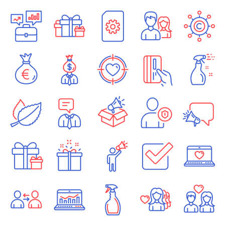 Line icons set. Included icon as Woman love, File management, Payment card signs. Mint leaves, Business portfolio, Teamwork symbols. Megaphone, Brand ambassador, Support service. Manager. Vector