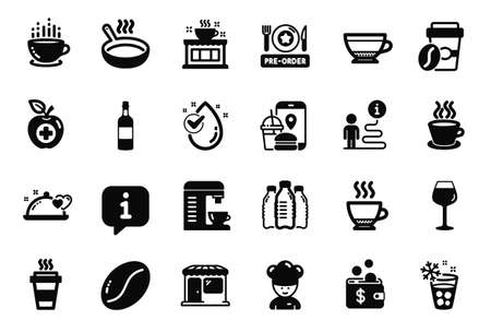 Vector Set of Food and drink icons related to Market, Espresso and Coffee cup icons. Medical food, Takeaway and Food app signs. Cooking chef, Ice maker and Tea cup. Bordeaux glass. Vector