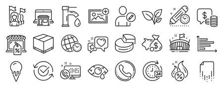 Set of Business icons, such as Add photo, Piggy bank, Market sale icons. Time zone, Feminism, Edit user signs. Conjunctivitis eye, Approved, Project deadline. Pie chart, Web call, Coins. Vector