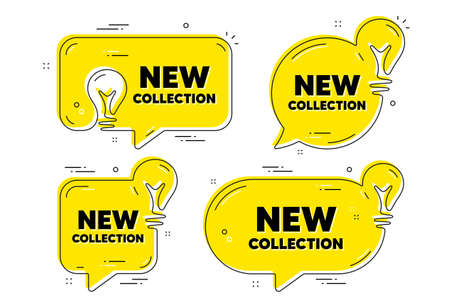 New collection text. Idea yellow chat bubbles. New fashion arrival sign. Advertising offer symbol. New collection chat message banners. Idea lightbulb balloons. Vector