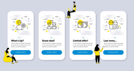 Vector Set of line icons related to Engineer, Banking and Couple love icons. UI phone app screens with people. Add gift line symbols. Worker with cogwheel, Money payment, People in love. Vector