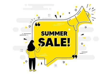Summer Sale text. Alert megaphone chat banner with user. Special offer price sign. Advertising Discounts symbol. Summer sale chat message loudspeaker. Alert megaphone people background. Vector