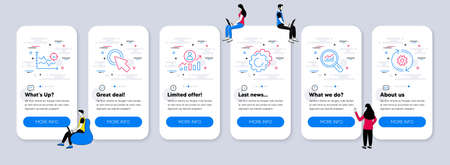 Science icons set. UI phone app screens with teamwork. Included icon as Click here, Settings gears, Career ladder signs. Data analysis, Seo analysis, Cogwheel line icons. Vector