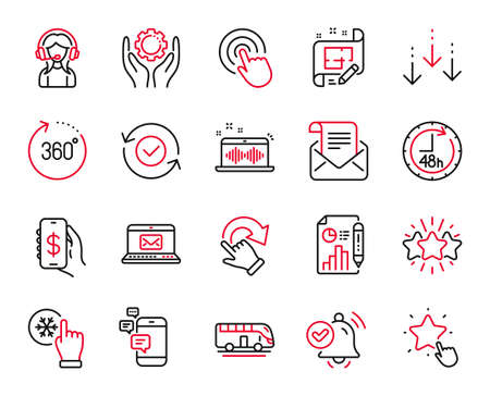 Vector Set of Technology icons related to Scroll down, Star and 360 degrees icons. Support, 48 hours and Ranking star signs. Communication, Freezing click and Music making. Architect plan. Vector