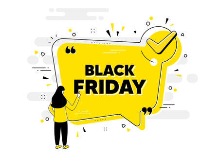 Black Friday Sale. Check mark chat bubble banner with people. Special offer price sign. Advertising Discounts symbol. Black friday approved chat message. Checklist user background. Vector