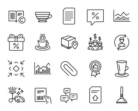 Vector set of Tea cup, Infochart and Salary employees line icons set. Parcel invoice, Cappuccino and Teacup icons. Human resources, Discount message and Chat messages signs. Tea cup web symbol. Vector