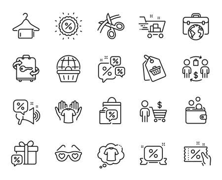 Vector set of Online shopping, Discounts chat and Discounts ribbon line icons set. Luggage, Sale bags and Wallet money icons. Buyer, Sale tag and Clean towel signs. Online shopping web symbol. Vector
