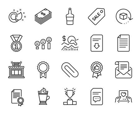 Vector set of Reward, Shop and Return package line icons set. Positive feedback, Comments and Love mail icons. Certificate, Best rank and File signs. Reward web symbol. Vector