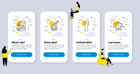 Set of Business icons, such as Beer glass, Fitness app, Brand ambassador icons. UI phone app screens with people. Justice scales line symbols. Brewery beverage, Training program, Megaphone. Vector