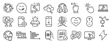 Set of Technology icons, such as Seo phone, Energy, Online survey icons. Video conference, Smile chat, Winner podium signs. Swipe up, Touch screen, Puzzle. Scroll down, Time management. Vector 向量圖像