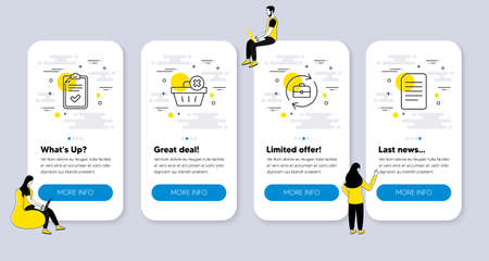 Vector Set of line icons related to Human resources, Checklist and Delete order icons. UI phone app screens with people. Document line symbols. Job recruitment, Survey, Clean basket. Vector