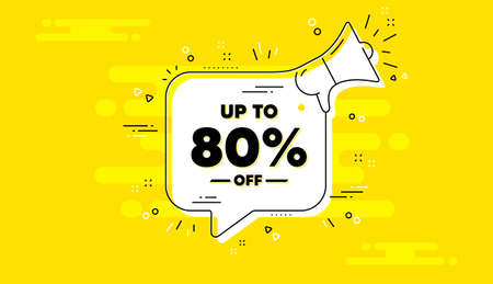 Up to 80 percent off Sale. Alert megaphone yellow chat banner. Discount offer price sign. Special offer symbol. Save 80 percentages. Discount tag chat message loudspeaker. Vector