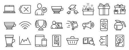 Set of line icons, such as Latte, Wifi, Surprise boxes icons. Diagram, Present box, Remove signs. Hdd, Megaphone, Coffee vending. Push cart, Cappuccino, Message. Mobile devices, Mocha. Vector Vettoriali