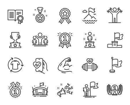 Vector set of Cardio training, Mountain flag and Leadership line icons set. Success, Dumbbells workout and Strong arm icons. Winner cup, Change clothes and Winner reward signs. Vector Vecteurs