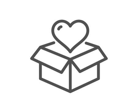 Donation box line icon. Fundraising sign. Charity symbol. Quality design element. Linear style donation icon. Editable stroke. Vector 矢量图像