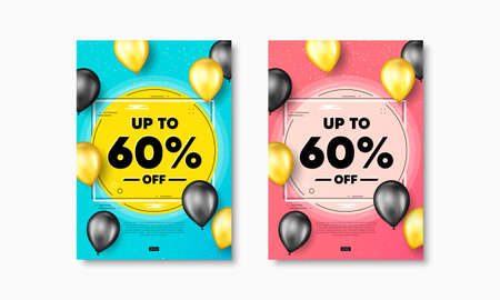 Up to 60 percent off Sale. Flyer posters with realistic balloons cover. Discount offer price sign. Special offer symbol. Save 60 percentages. Discount tag text frame poster banners. Vector 矢量图像