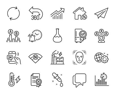 Vector set of Report timer, Electricity power and Talk bubble line icons set. 24h service, Chemistry pipette and Video conference icons. Ab testing, Loan house and Full rotation signs. Vector