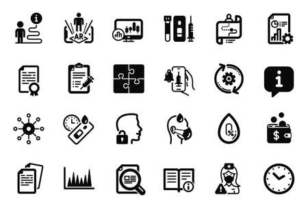 Vector Set of Science icons related to Multichannel, No alcohol and Blood and saliva test icons. Vaccine report, Line graph and Journey path signs. Technical info, Cogwheel and Sick man. Vector
