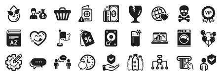 Set of Business icons, such as Flag, Discount tags, Chemical hazard icons. Refrigerator, Yummy smile, Vocabulary signs. Update time, Washing machine, Hdd. Vip award, Fragile package. Vector 矢量图像